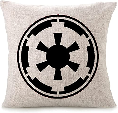 SHAA Fundas de almohada decorativas de algodón y lino con diseño de Star Wars, fundas de ventiladores (Imperio Galáctico Negro)-Negro-40,6 x 40,6 cm