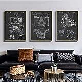 DOOPVM Vintage Poster Kamera Patent Leinwand Malerei Wandkunst Antike Kamera Kunst Poster Retro Wandbilder Fotografie Dekoration 40cmx60cmx3 STK.Kein Rahmen