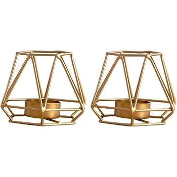 Nuptio 2 Pcs Metal Hexagon Shaped Geometric Design Tea Light Votive Candle Holders, Iron Hollow Tealight Candle Holders for Vintage Wedding Home Decoration, Gold (S + S)
