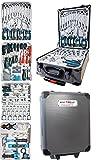 Kraftwelle Maletín de herramientas con 188 piezas, con ruedas, de aluminio, carraca reversible, juego de herramientas, llave de trinquete con anillo bloqueable