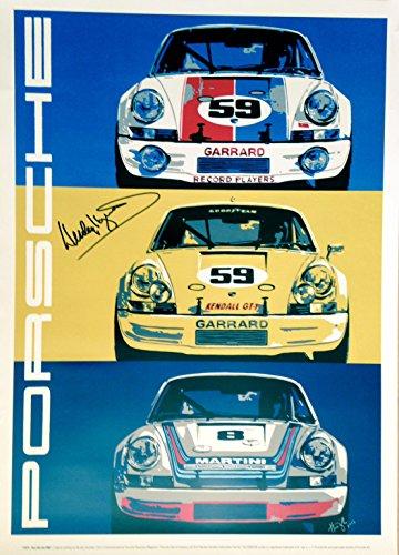 Nicolas Hunziker Original Autographed Porsche 911RSR Poster Hand Signed by Champion Hurley Haywood