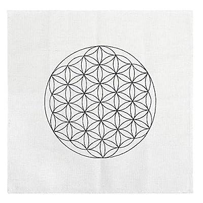 QGEM Printed Cotton Flower of Life Sacred Geometry Crystal Grids Altar Cloth, Healing Spiritual Reiki Metaphysical