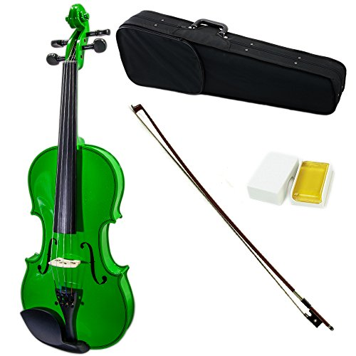 SKY Full Size VN202 Solidwood Green Violin Beautiful Purfling with Brazilwood Bow and Lightweight Case