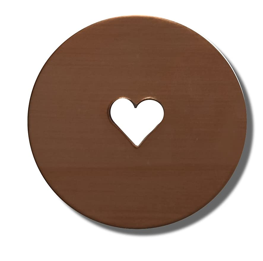 RMP Stamping Blanks, 1 Inch Round With 1/4 Inch Heart Center Cutout, 16 Oz. Copper, 24 Gauge - 10 Pack