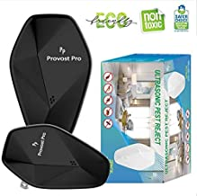 ProvostPro White - Ultrasonic Pest Repeller Newest Design Humane Mice Control Electronic Insect Repellent Easiest Way to Reject Rodent Bedbug Mosquito Fly Cockroach Spider Rat Ant 2 Pack (Black)