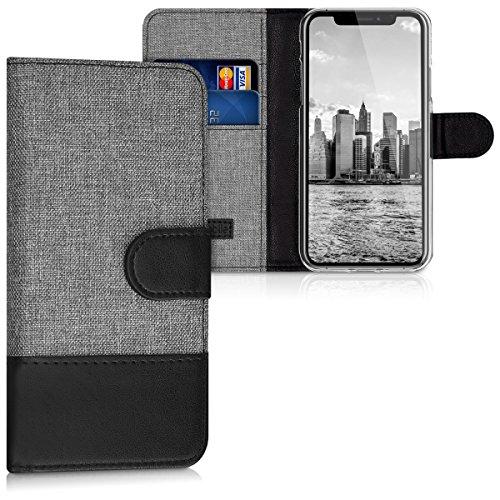 kwmobile Hülle kompatibel mit Apple iPhone X - Kunstleder Wallet Hülle mit Kartenfächern Stand in Grau Schwarz