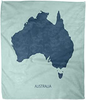 Emvency Throw Blanket Warm Cozy Print Flannel Colorful Flat Australia Map Brisbane Australian Comfortable Soft for Bed Sofa and Couch 50x60 Inches