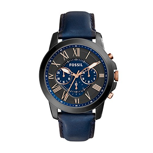 Fossil Herren Chronograph Quarz Uhr mit Leder Armband FS5061