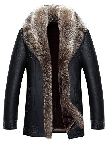 moxishop Herren Top Luxuriöse weiche Waschbär Pelz Kragen Schafhaut Mantel verdicken Warm Winter Parka Oberbekleidung Short Raccoon Fur Coats (DE Small, D615-Schwarz)
