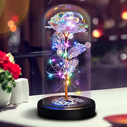 Glass Rose Flower Gifts for Mom Grandma, Led Light String on 24K Gold Foil Colorful Galaxy Rose in Glass Dome, Unique Gifts for Women Mother's Day Valentine's Day Wedding Anniversary Birthday