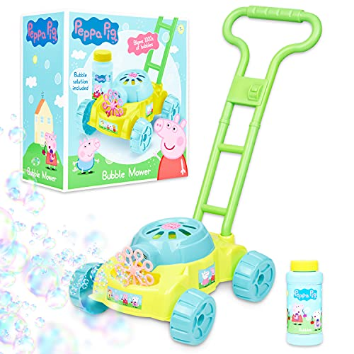 Peppa Pig Seifenblasenmaschine Kinder Rasenmäher, Bubble Machine, Peppa Wutz Spielzeug ab 3 Jahre