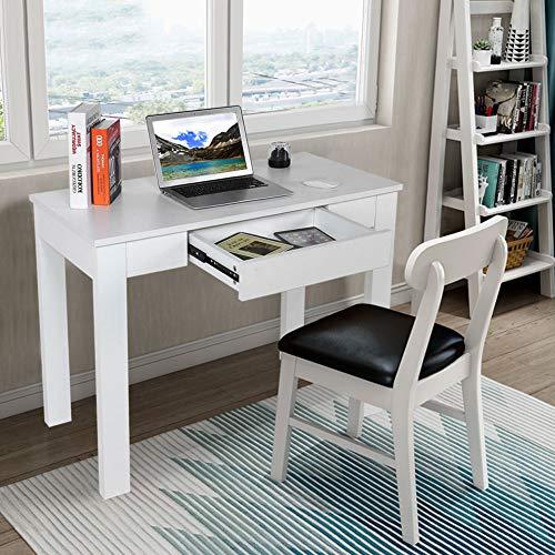 Escritorio para ordenador, mesa de oficina con cajones, escritorio para estudio, escritorios pequeños para oficina o sala de estudio, blanco, 100 x 50 x 66 cm