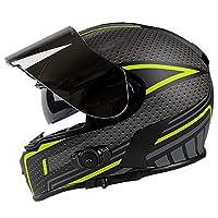 フルフェイスモーターサイクルストリートバイクヘルメットDOT/ECE、Bluetoothヘッドセット、デュアルシェードダートバイクATVモーターサイクルヘルメット B,L (59~60CM)