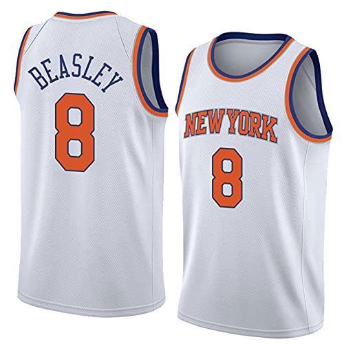 FHXY Beasley Knicks # 8 Camiseta de Baloncesto, Camiseta de algodón de Malla Bordada, Retro Fresco y Tela Transpirable Jersey All-Star M