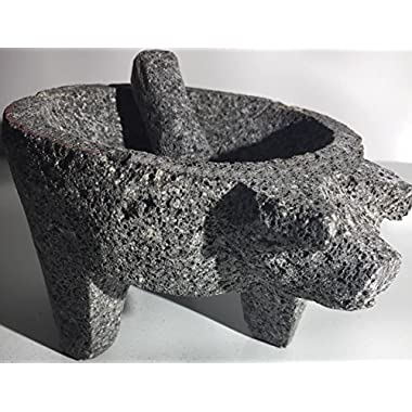 Made in Mexico Genuine Mexican Manual Guacamole Salsa Maker Volcanic Lava Rock Stone Molcajete/Tejolote Mortar and Pestle Herbs Spices Grains Front Pig Head 7