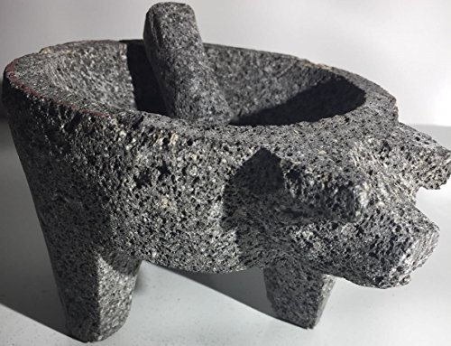 """Made in Mexico Genuine Mexican Manual Guacamole Salsa Maker Volcanic Lava Rock Stone Molcajete/Tejolote Mortar and Pestle Herbs Spices Grains Front Pig Head 10"""""""