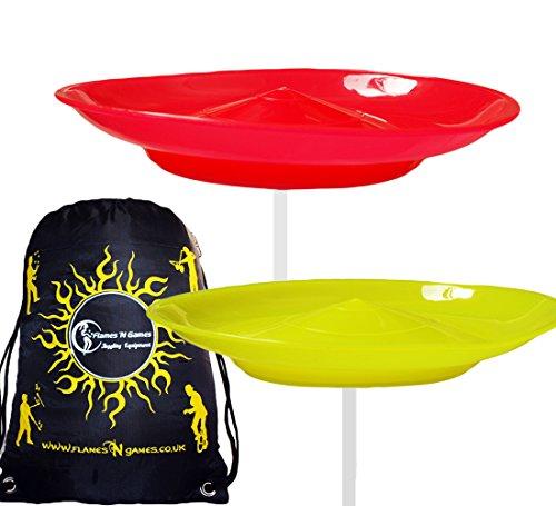 Flames \'N Games 2X Jonglierteller Set mit 2 Stäbe und Reisetasche! Jonglier Spaß für Kinder & Erwachsenen (Gelb/Rot)