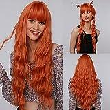 EMMOR Pelucas largas de color naranja para mujer, cabello natural sintético con flequillo de aire, pelucas completas para uso diario y de fiesta
