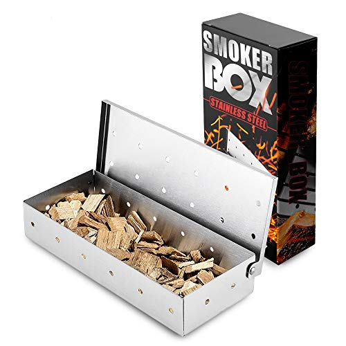 N/K BBQ Smoker Box – Meat Smoking,Add Smokey BBQ Flavor on Gas Grill or Charcoal Grills,Barbecue Grilling Accessories…