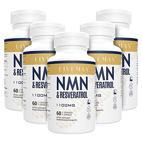 Maximale Absorption Trans-Resveratrol 600mg + NMN 500mg | 300 Vegane Kapseln | Hohe Antioxidantien | Vegan | Glutenfrei | Non GMO (5PACK)