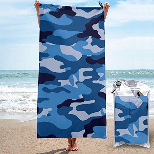 N/A Toalla de microfibra ligera, toalla de playa de viaje, extra grande, de secado rápido, para gimnasio, natación, yoga, muy absorbente, secado rápido, camuflaje azul