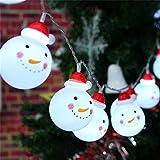 Yizeda - Luces de hadas de muñeco de nieve funciona con pilas luces blancas crea un ambiente invernal Navidad fiesta de cumpleaños dormitorio decoración brillante para interiores y exteriores