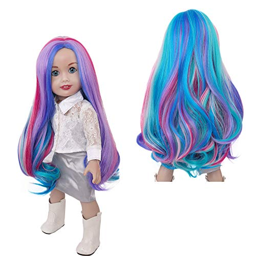 MUZI WIG Doll Hair, Rainbow Long Wavy Curly Heat Resist Doll Wigs for 18'' Dolls