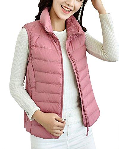 ZhuiKun Damen Daunenweste Packbare Leichte Outdoor Weste Winter Daunenweste Ärmellose Daunenjacke Steppweste Pink XL