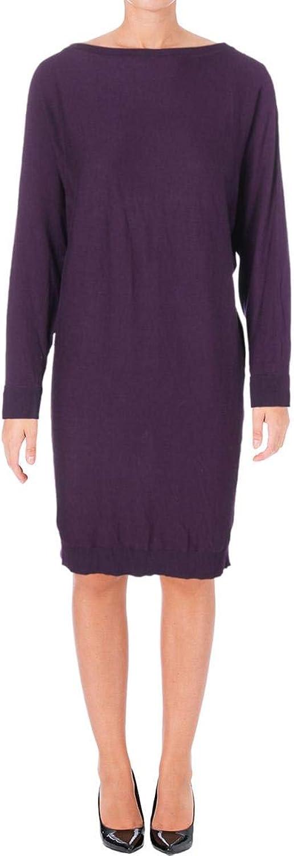 Ralph Lauren Womens Dolman Sleeve Sweater Dress Purple S