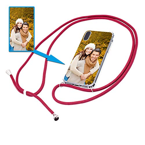 PixiPrints Personalisierte Handykette Foto-Handyhülle mit Band selbst gestalten * Bedruckt mit eigenem Foto und Text, Kompatibel mit Apple iPhone Xr, Farbe: Bordeaux Rot