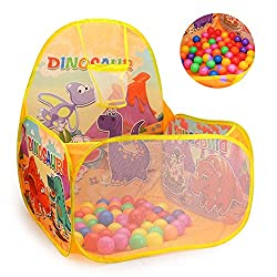 3. Bollepo Dinosaur Play Tent with Ball Pit, Basketball Hoop, and 60 Balls
