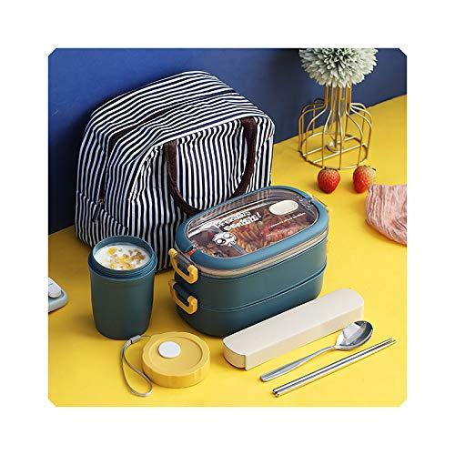 Caja de almuerzo con compartimento aislado, de acero inoxidable, color azul marino