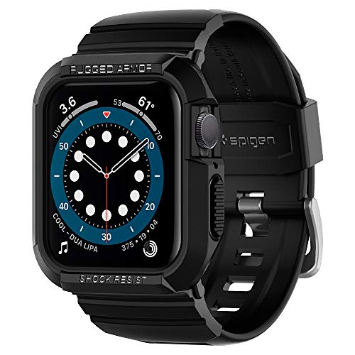 Spigen Rugged Armor PRO Compatibile con Apple Watch Custodia con Cinturino per 44mm Series 6/SE/5/4 - Nero