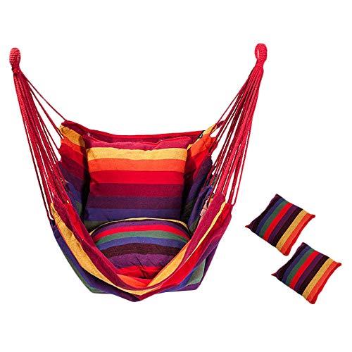 Hamaca Hamaca - Silla colgante para balcón con 2 almohadas para interior, exterior, jardín (arco iris)