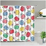Cartoon Bunte Obst Apfel Druck Duschvorhang Ananas Badevorhänge Wasserdichtes Gewebe Kind Baby Badezimmer Display Mit Haken-180x180cm