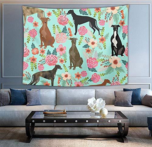 Tapiz multiusos de moda para colgar en la pared con zombi verde para sala de estar, dormitorio, decoración del hogar, diseño de galgo, diseño floral, color menta