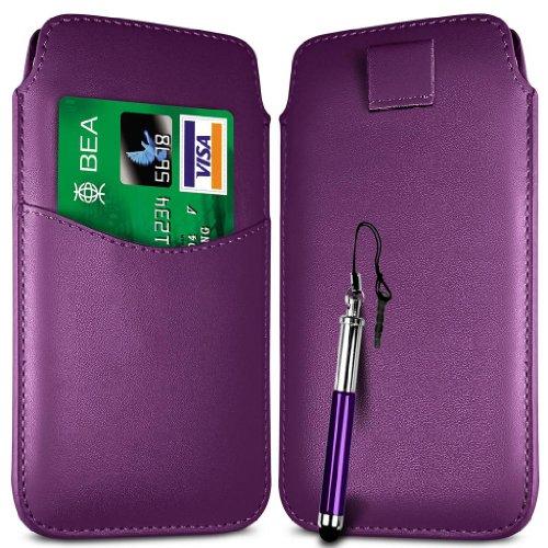 N4U Online Dark Lila Card Slot Premium-PU-Leder Flip Pull Tab Hülle Tasche & versenkbaren Stift für Huawei Ascend Y210D