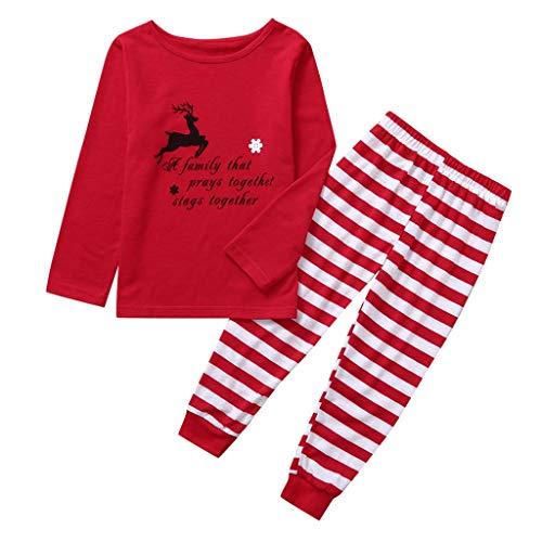 Hunpta@ Pyjama de Noël en coton pour enfant Motif famille de Noël 120 Kids
