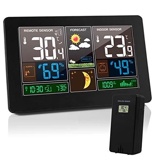 VORRINC Wetterstation Funk mit Farbdisplay, Digital Thermometer Hygrometer Innen und Außen Raumthermometer Hydrometer Feuchtigkeit, DCF Empfangssignal Funkuhr, Wettervorhersage, Mondphase