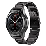 Gear S3 Bands, iBazal Gear S3 Frontier/ Classic Watch Band 22mm Solid Stainless Steel Band for Samsung Gear S3 Frontier/ Classic SM-R760-(Black 02)