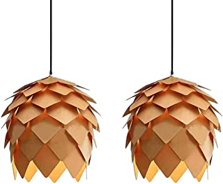 Pendant Hanging Light Fixture Lamp Wood Artichoke Creative Modern Chandeliers Hand Craft Pine Cone Contemporary Style E26 for Bar Restaurant Light Living Room 9.84 Inch 2 Pack