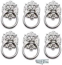 DealMux 67x40mm Leeuwenkop Ring trekt/handgrepen voor dressoir, lade, kast, deur, kast, kast 6 stuks (zilverkleur)