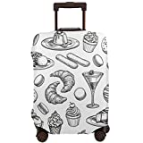 Travel Suitcase Protector,Sketch Set of Dessert Pastry Sweets Collection Isolated On White Background Hand Drawn Vector Illustration Retro Style,Suitcase Cover Washable Luggage Cover L