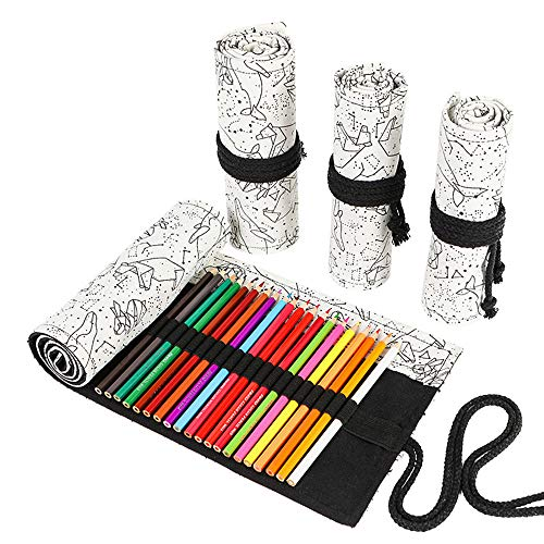 Funny live 24/36/48/72 Slots Colored Pencil Wrap Roll up Pen Holder Case Drawing Coloring Pencil Roll Organizer Stationery Case for Student Artist Traveler (Abstract Lines, 72 Slots)