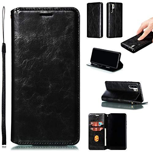 Hülle Handyhülle for [Huawei P30 Pro], Premium Leder Flip Schutzhülle [Standfunktion] [Kartenfächer] [Magnetverschluss] lederhülle klapphülle für Huawei P30Pro - TTYKB020340 Schwarz