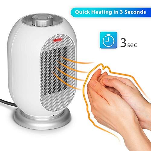 KELEQI Portátil Mini Ventilador Calefactor, (700W / 1200W),PTC De Cerámica Calentador De Aire Eléctrico Silencioso Protección contra Vuelcos Y Sobrecalentamiento,para El Hogar Oficina HCD,Blanco