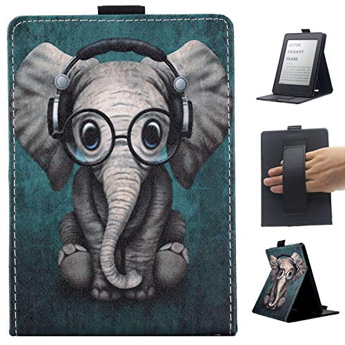 Case for Kindle Paperwhite(Compatible 10th Generation 2018 Release), Lightweight PU Leather Shell Smart Stand Cover with Auto Sleep/Wake & Hand Strap for All Paperwhite Generations - Elephant