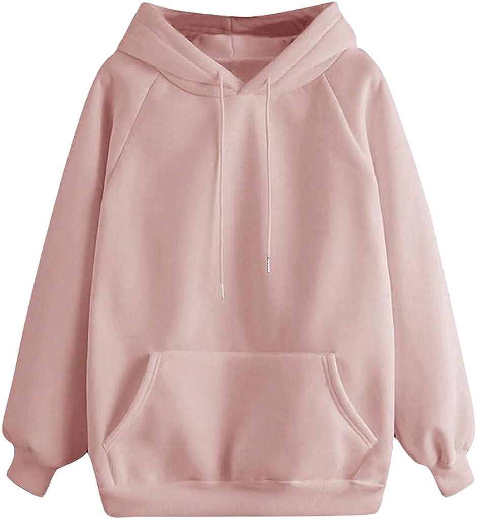 Qunkii Sweatshirt for Womens Long Sleeve Pullover Tops Teen Girls Plain Hooded Sweatshirt Cute Hoodie Blouse with Pocket