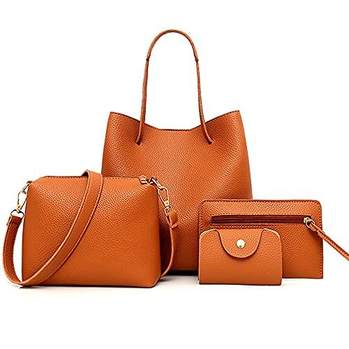 Jeauseul Women Fashion Handbags Wallet Tote Bag Shoulder Bag Top Handle Satchel Purse Set Handbags for Women 4pcs