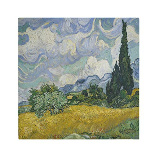 TropicalLife HaJie Napkins Wheat Field Cypresses Art Dinner Napkin Paper Satin Polyester Cloth Reusable Napkins for Table Kids 20x20 in, 4 Pcs
